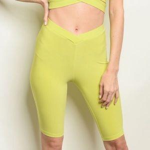 Neon yellow green biker shorts, NEW!🍋🥝